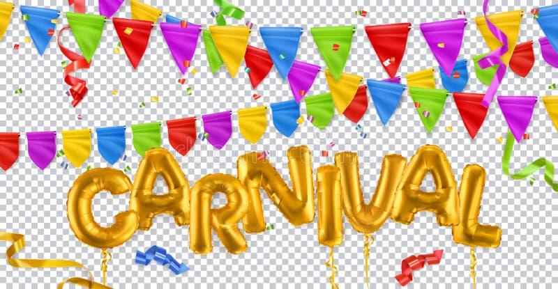 Праздничное оформление Карнавал, золотые игрушечные шарики, флаги, ленточки, конфетти 3d векторный набор Изолировано на прозрачно иллюстрация вектора