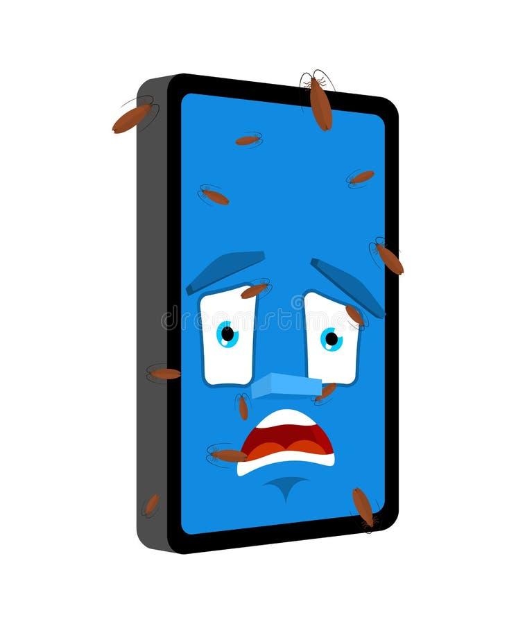 Köp i telefon isolerat Infekterade med insekter Smartphone Cartoon Style Gadget panikad Vector royaltyfri illustrationer