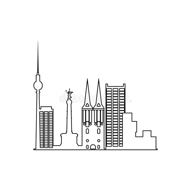 伦敦城市景观 移动概念和Web应用图标的Cityscape元素 大纲、网站设计的细线图标 皇族释放例证