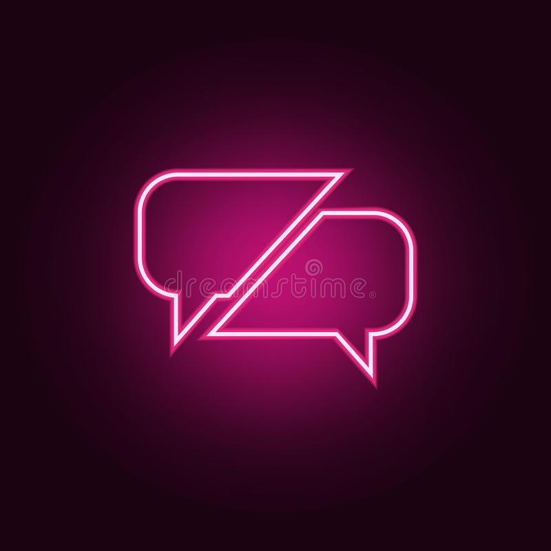 通信气泡图标 霓虹色图标中的对话与友谊元素 网站的简单图标,网页设计, 皇族释放例证