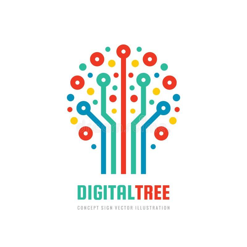 数字树-矢量商业徽标模板概念平面图 计算机网络标志 电子图形设计 向量例证