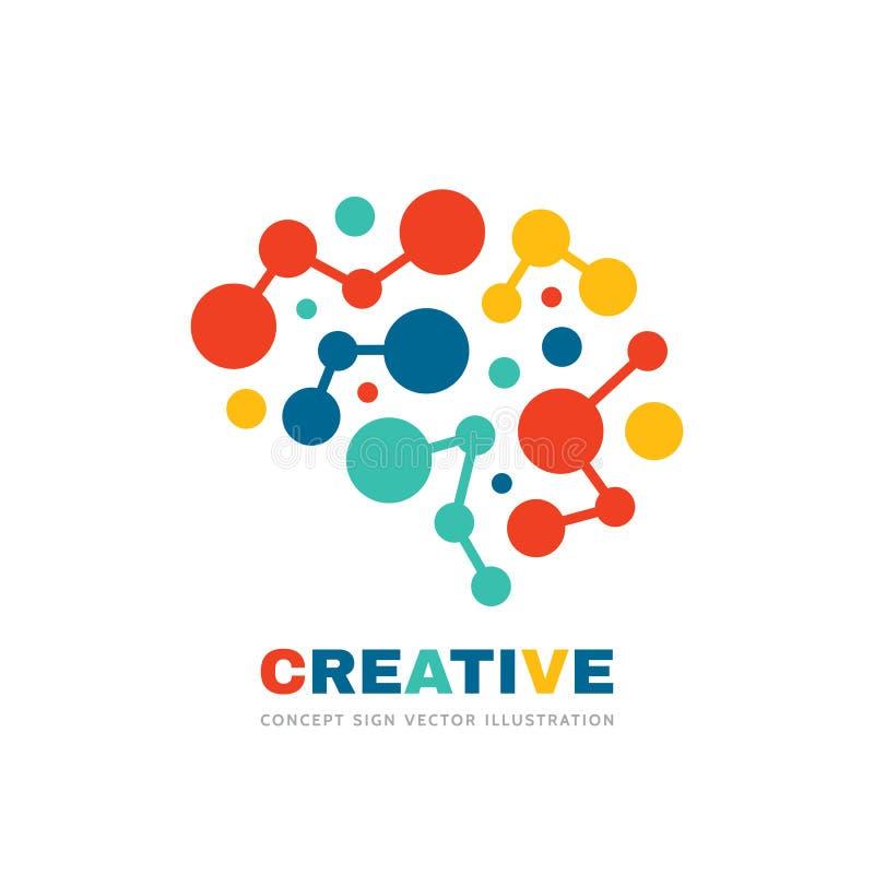 创意-业务矢量徽标模板概念图示 抽象人脑符号 几何着色结构 注意 向量例证