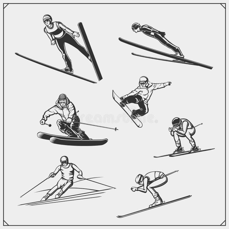冬季运动员剪影集 跳台滑雪,下坡滑道,滑雪标志 T恤的印刷设计 运动俱乐部球 向量例证
