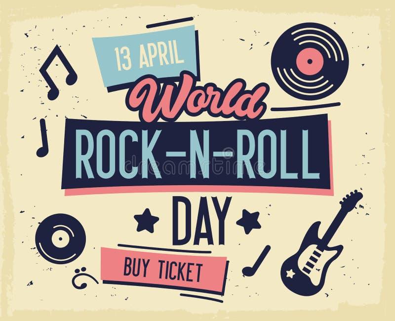 摇滚节海报 World Rock-n-Roll Day Banner,带吉他的活页、小册子、封面 Live Music Concert设计模板 库存例证