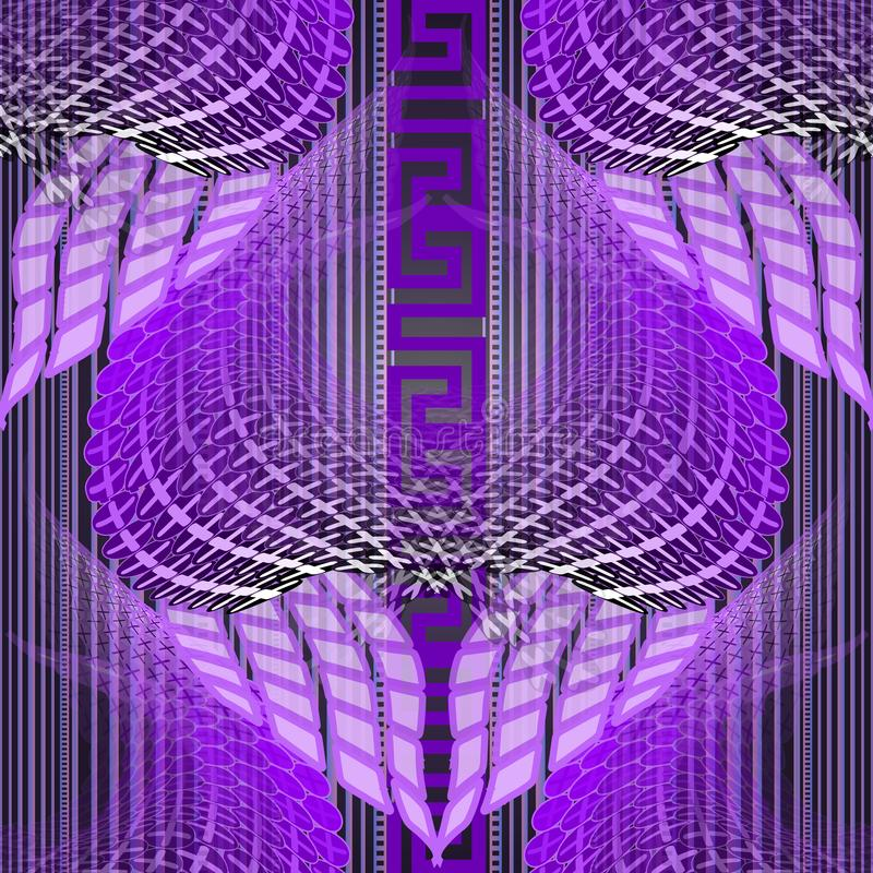 Luminosité des méandres grecs vectoriels motif continu Arrière-plan de néon éclatant mi-teint Répétition colorée géométrique illustration de vecteur