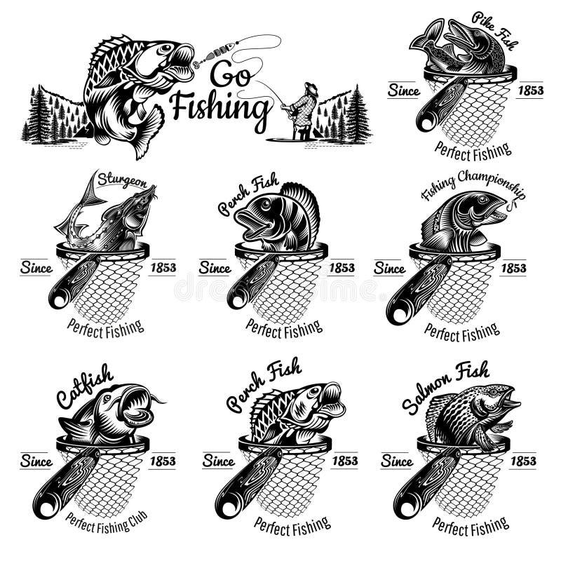 Uppsättning av olika fiskar uppåt från landningsnät i gravitationsformat Fisk, pärlfisk, lax, störtflod, pike Logotyp för fiske e vektor illustrationer