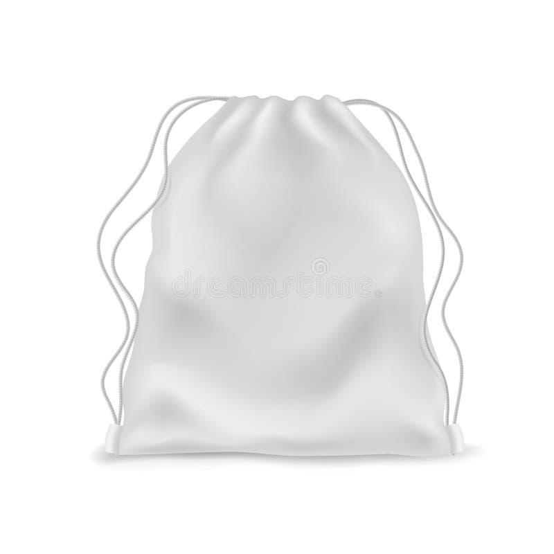 Realistische rugzak Witte rugzak, rugzak van school Sportwapier, verpakking voor schoeisel met touwen stock illustratie