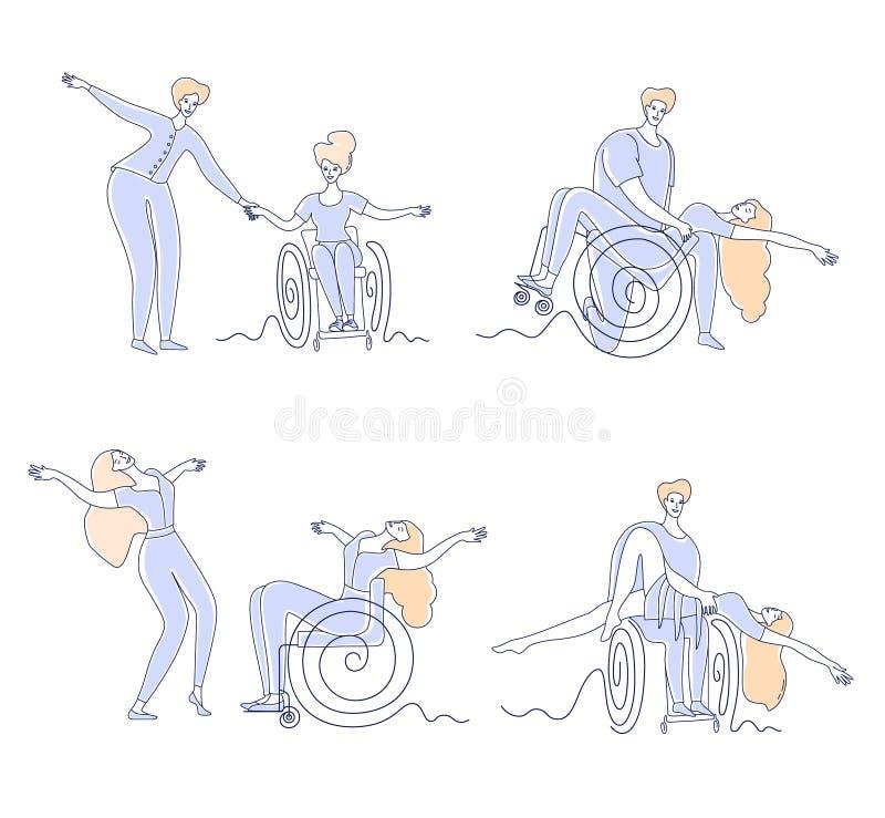 Clube de dança de cadeira de rodas Homens e mulheres com deficiência em lazer desportivo Conjunto de ilustrações de vetor de linh ilustração do vetor