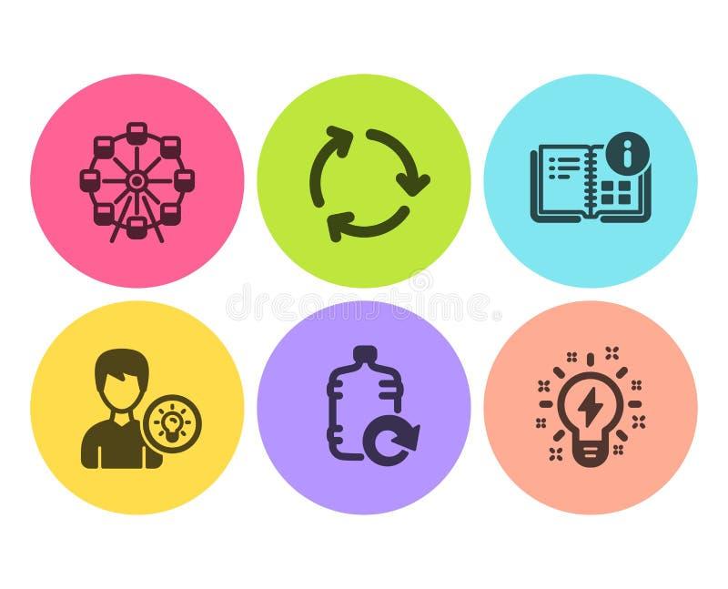 Идея человека, колесо обозрения и набор значков для рециклинга Реконструкция водяного раствора, вводная информация и знаки Inspir иллюстрация вектора