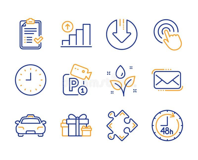 单击,植物浇水和图表图标集 已批准的核对表、 Messenger邮件和策略标志 矢量 库存例证