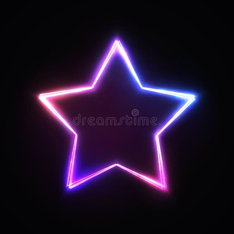 Signo de estrella luminosa neón Señales color rosa azul brillante aisladas en fondo oscuro Diseño de elementos del volante de ban libre illustration
