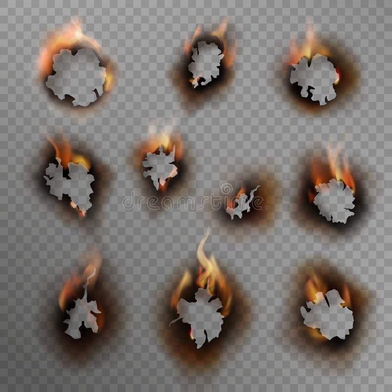 Verbrandingsgaten Schorste papiergat, gebrand bruine rand met vlam Vuur in gekraakt vuil gat, realistische vectorset royalty-vrije illustratie