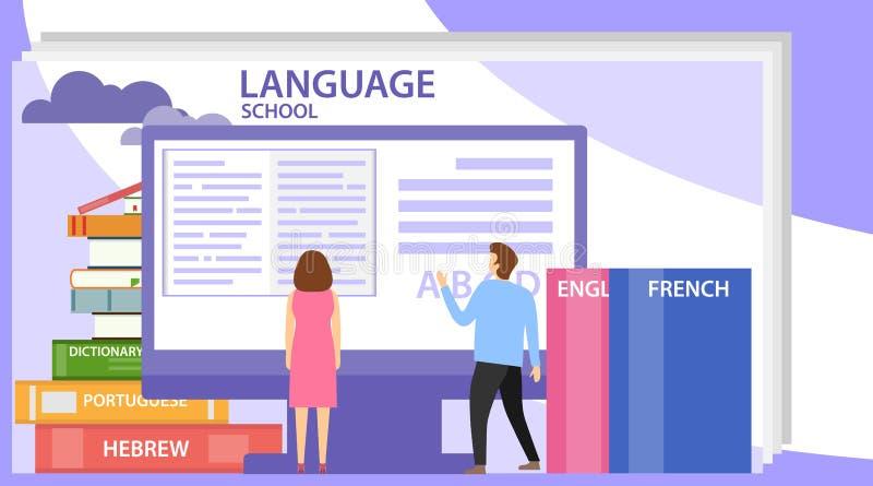 Banderoll för språkskolans koncept med tecken Perfekt för reklam, affisch, banderoll Kan även användas för språk stock illustrationer