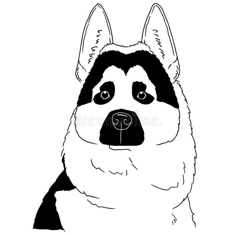 白色背景上的黑白狗插图 德国牧羊人的矢量手绘标志 免费动物肖像 向量例证