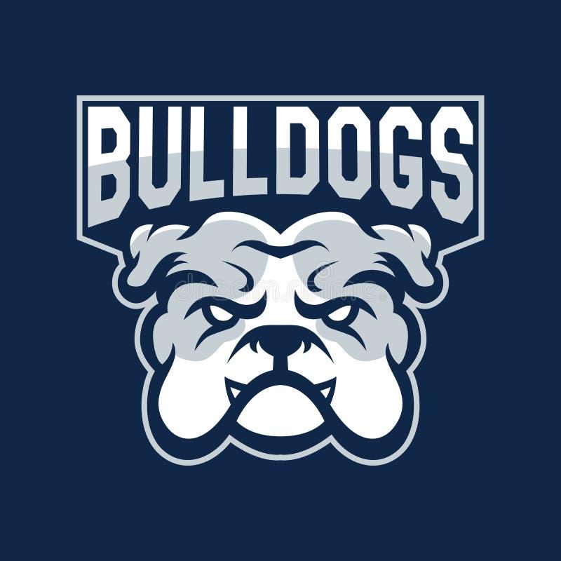 运动队现代职业标志 斗牛犬吉祥物 牛犬,黑暗背景上的矢量符号 皇族释放例证