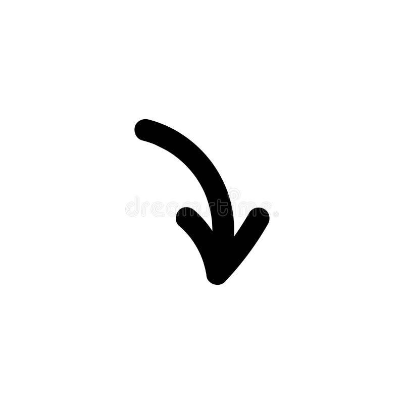 Черная стрелка мультфильма округленной руки вычерченная вниз плоский значок Знак загрузки бесплатная иллюстрация