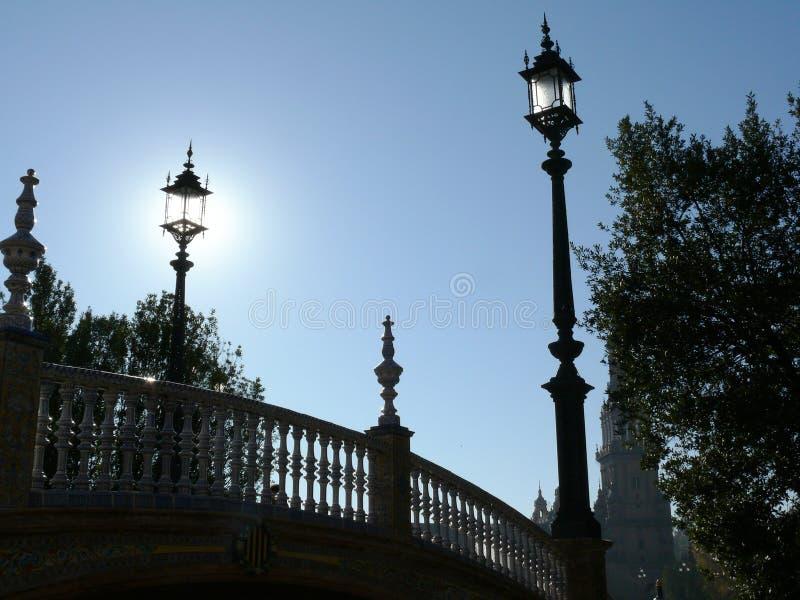 西班牙塞维利亚,2007年1月2日 皇宫广场 桥 图库摄影