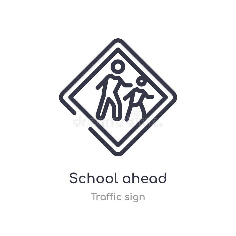 学前大纲图标 交通标志集合中的孤立线矢图 可编辑的粗线学校前面图标 皇族释放例证