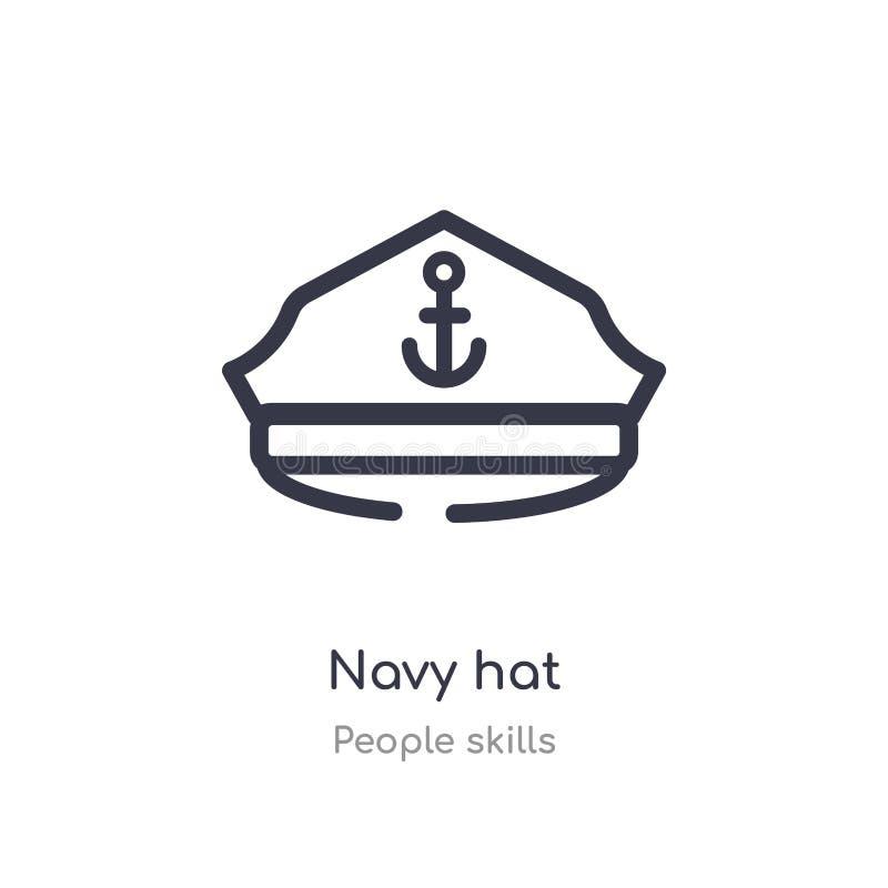 海军帽图标 人工技能收集的线矢图 可编辑的细描边深蓝色帽图标 皇族释放例证