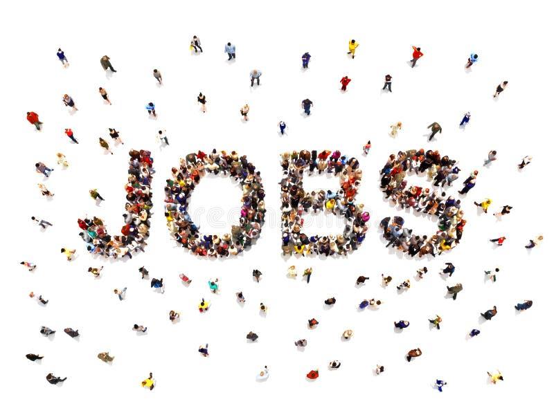 工作概念 3d一群不同的大人的翻译形成人的形状的文本词发现工作和就业 向量例证
