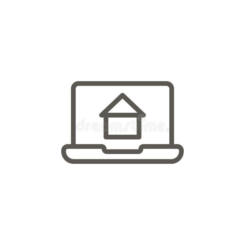 笔记本电脑,房地产,网页矢量图标 UI概念中的简单元素图示 笔记本电脑,房地产,网页矢量图标 皇族释放例证