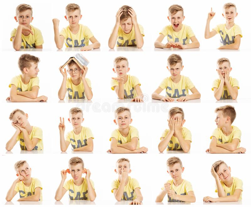 设置一个少年男孩的情感图片一件黄色T恤杉的,拼贴画 特写镜头,白色背景 免版税库存照片