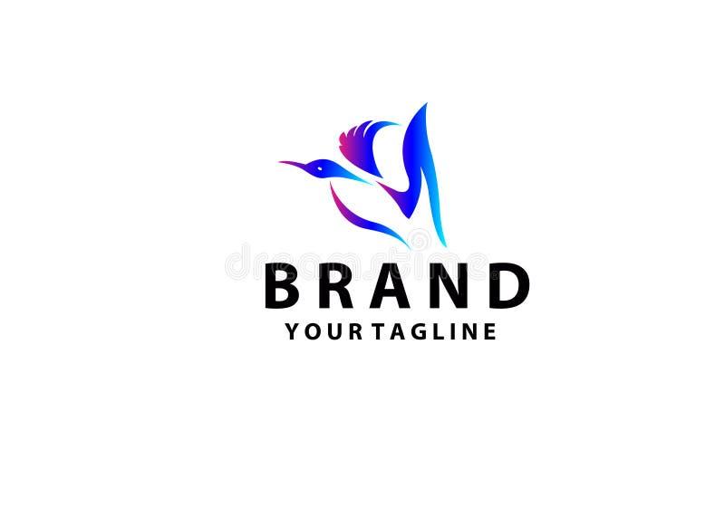 简单的五颜六色的典雅的鸭子商标,抽象鸭子商标 创造性的设计例证 皇族释放例证
