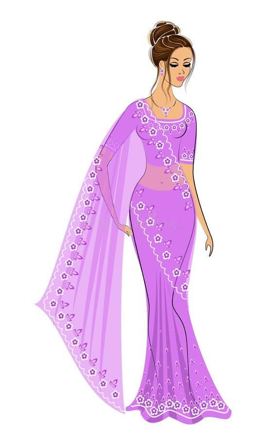 侧影是个可爱的女士 女孩穿着印度传统莎丽服 年轻美丽的女人 矢量 库存例证
