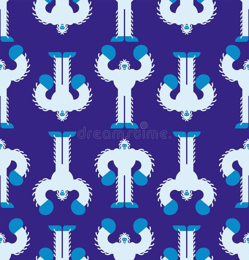 naadloos Yeti-patroon Achtergrond voetboog afschuwelijke snowmanversiering Vector textuur Groot voet royalty-vrije illustratie