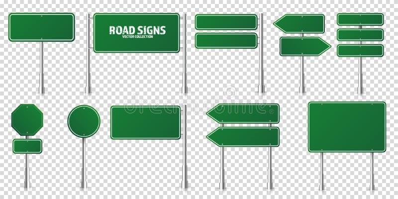 道路绿色交通标志设置 空白板 莫库普 孤立信息符号 方向 矢量 皇族释放例证