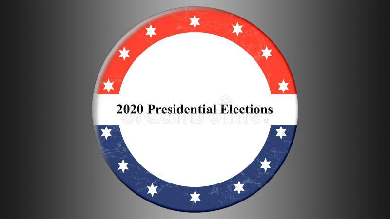 与圆形美国国旗的例证横幅 2020总统选举在美国 皇族释放例证