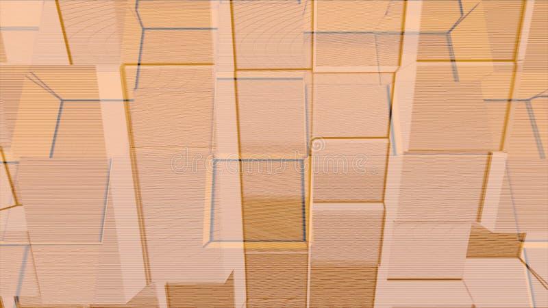 Анимация бежевой стены кубов двигая вперед и отсталой, безшовной петли r Абстрактный том преграждает бесконечное иллюстрация штока
