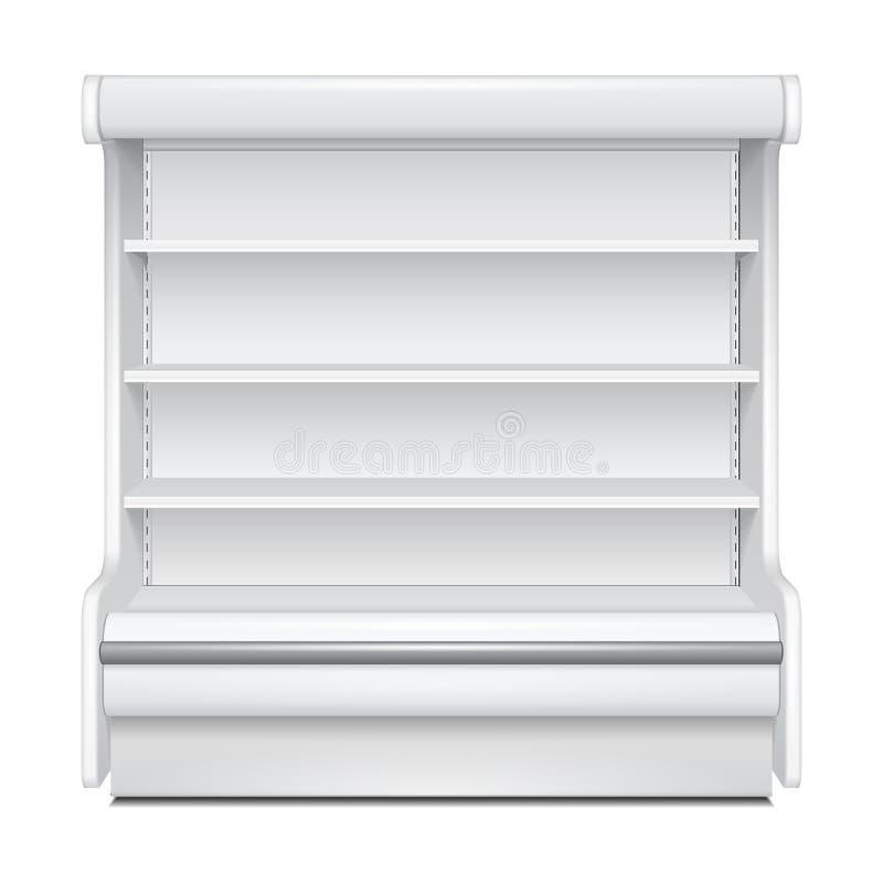 冷却的豪华机架冰箱壁柜空白空的陈列室显示 零售架子 3D隔绝了 ?? 库存例证