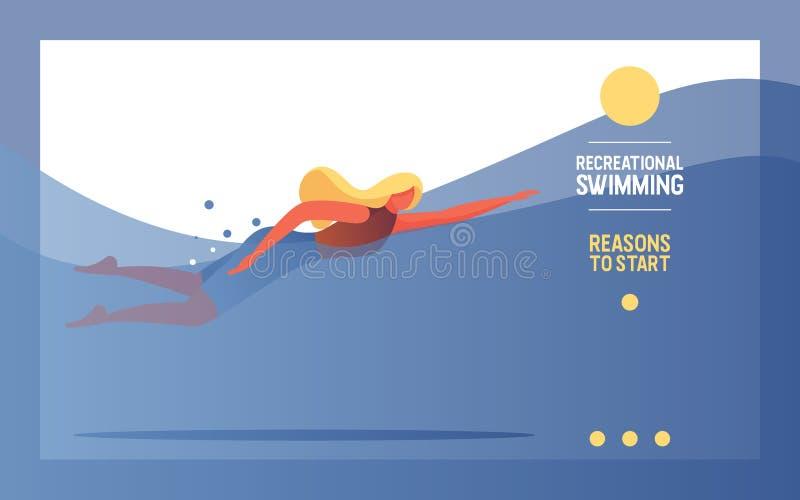 泳池游泳的年轻女子 池中类或工作室的矢量横幅 当代健康生活方式 皇族释放例证