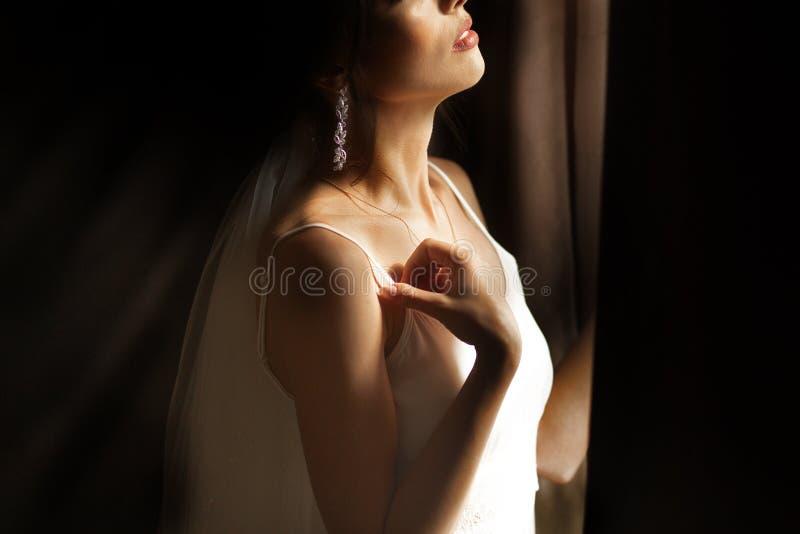 美丽的新娘在家 美丽的新娘在家 摆在由窗口的妇女 库存照片