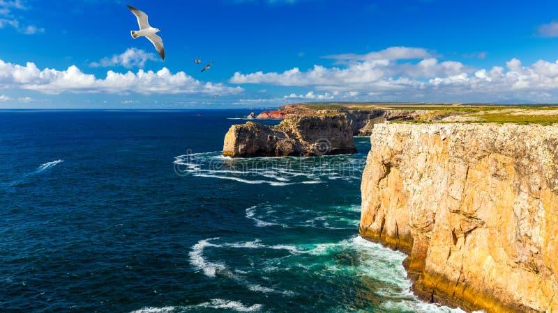 葡萄牙海岸,大西洋的悬崖 葡萄牙法鲁阿尔加维萨格雷斯 葡萄牙美丽的海岸,萨格尔 库存图片