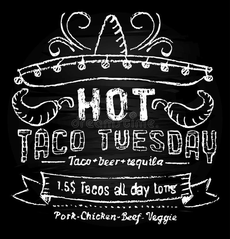 Upphöjningsmall för tako-tråd under dagen med effekt på kalkylbord Kalkbrev för matlagning Vector taco tuesday-koncept royaltyfri illustrationer