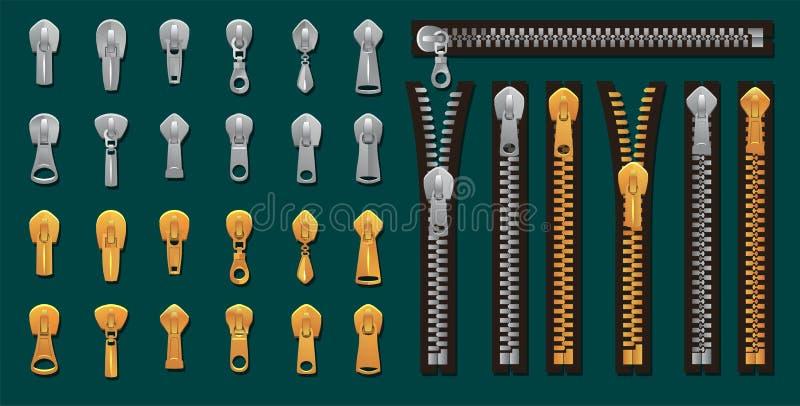 Gouden en zilveren geplaatste ritssluitingen en bevestigingsmiddelen Vector kleurstof-aan-Gelijke Ritssluitingen voor manierontwe stock illustratie