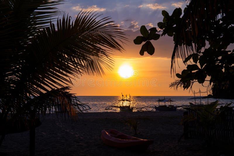 从棕榈叶看夕阳天海景 热带岛上的浪漫海景 橙色日落天空横幅模板 库存图片
