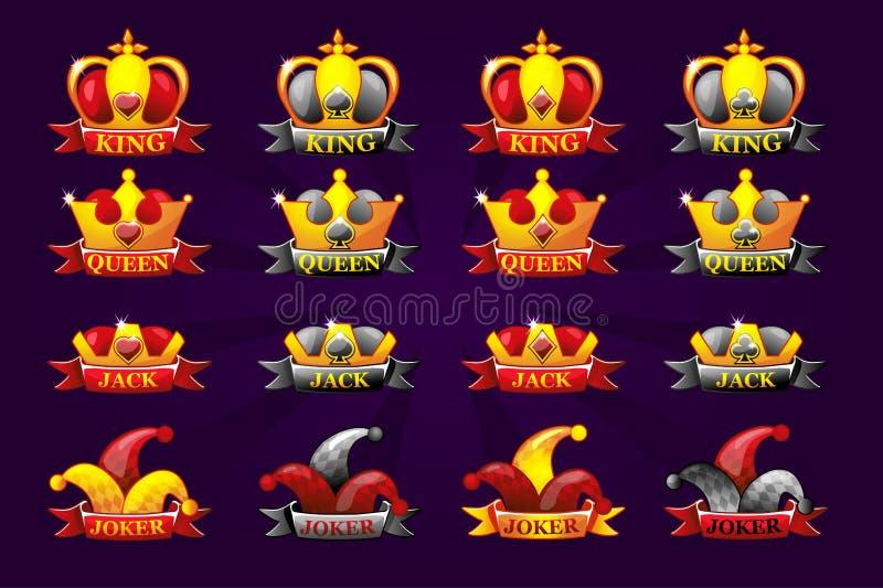 Kaartpictogrammen met kroon en lint Pokersymbolen voor casino- en GUI-afbeeldingen Koning, koningin, hefboom, gezicht en graf stock illustratie