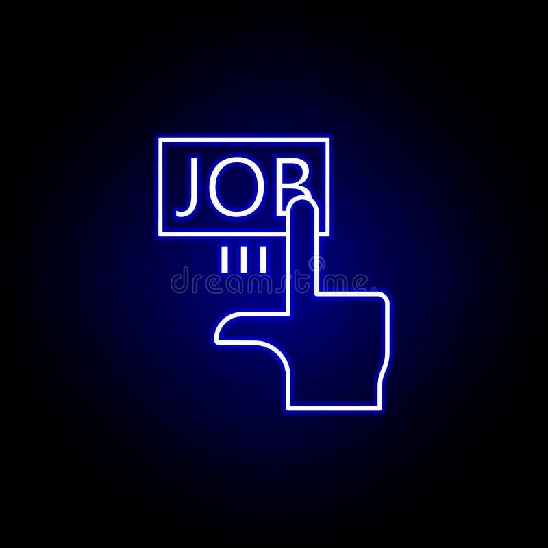 单击,手,作业图标 以霓虹色样式显示的人力资源图标元素 标志和符号可以用于Web,徽标, 库存例证
