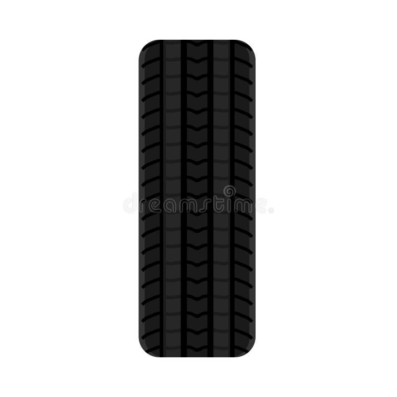 Vektorikon för illustration av bildäck Ras för bildäck av svart gummi Utrustning för service på spårbana royaltyfri illustrationer