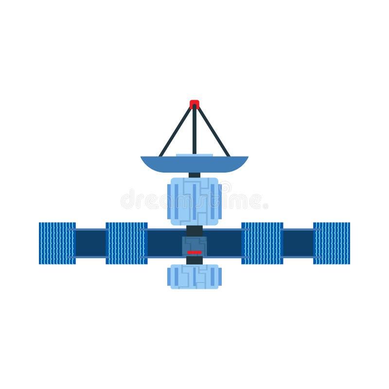Satellietvectorikoon, communicatieschuisruimte Antenne global Earth GPS-kosmos in de aarde Astronomisch zonnepanelenstation stock illustratie