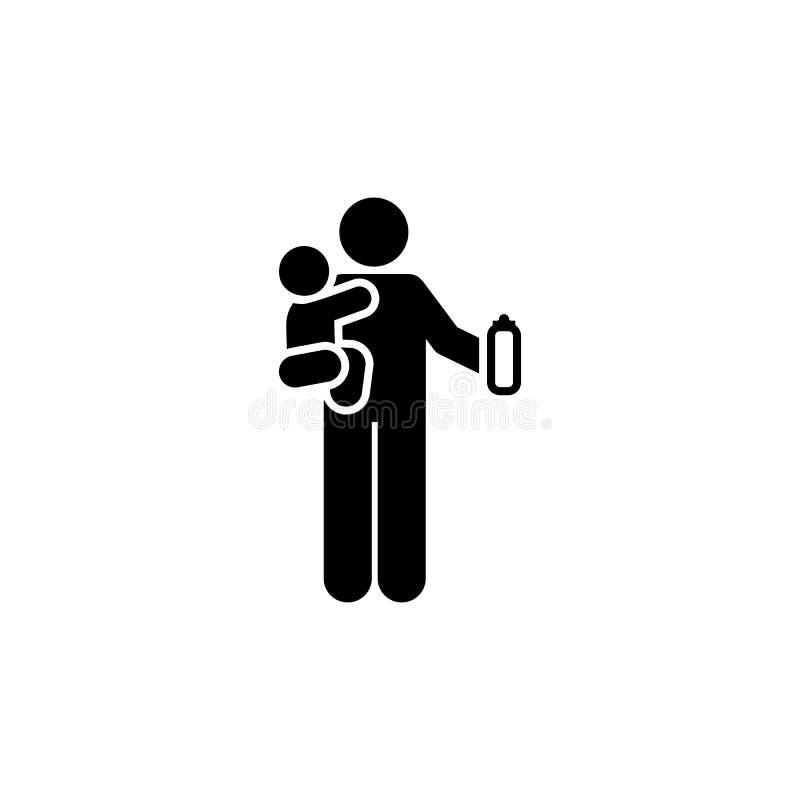 Детка, молоко, икона отца Элемент родительского значка Значок графического дизайна категории Premium Значок коллекции знаков и си иллюстрация вектора