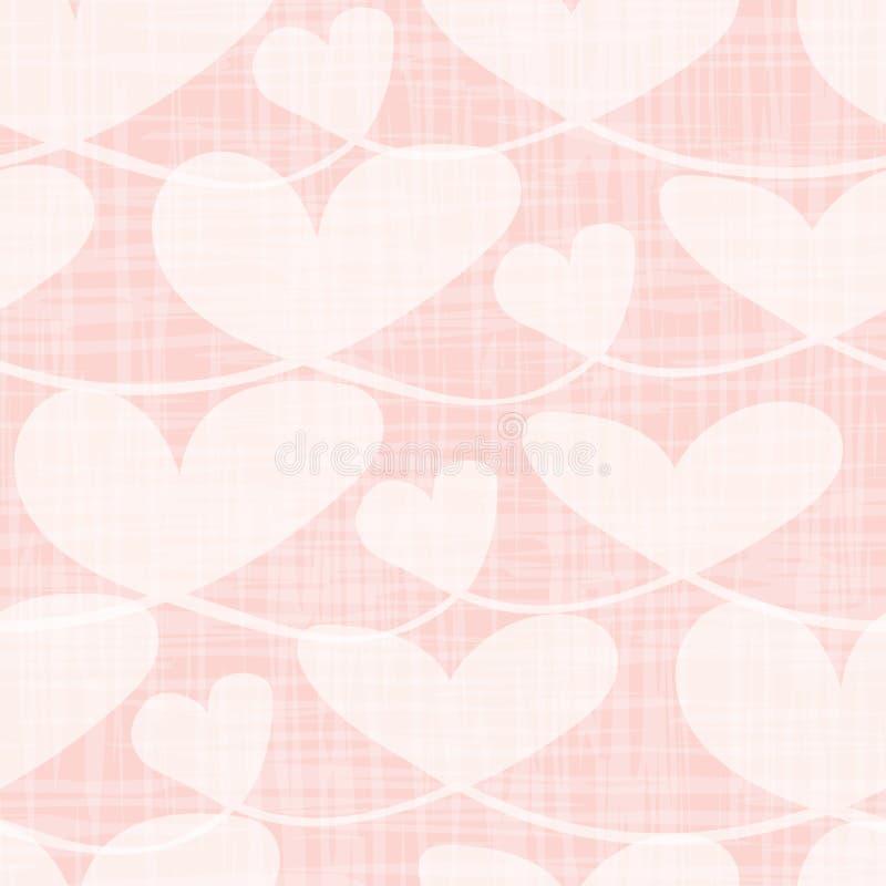具有水彩网格纹理的美丽透明心脏 粉红色背景上的无缝矢量图 完美 库存例证