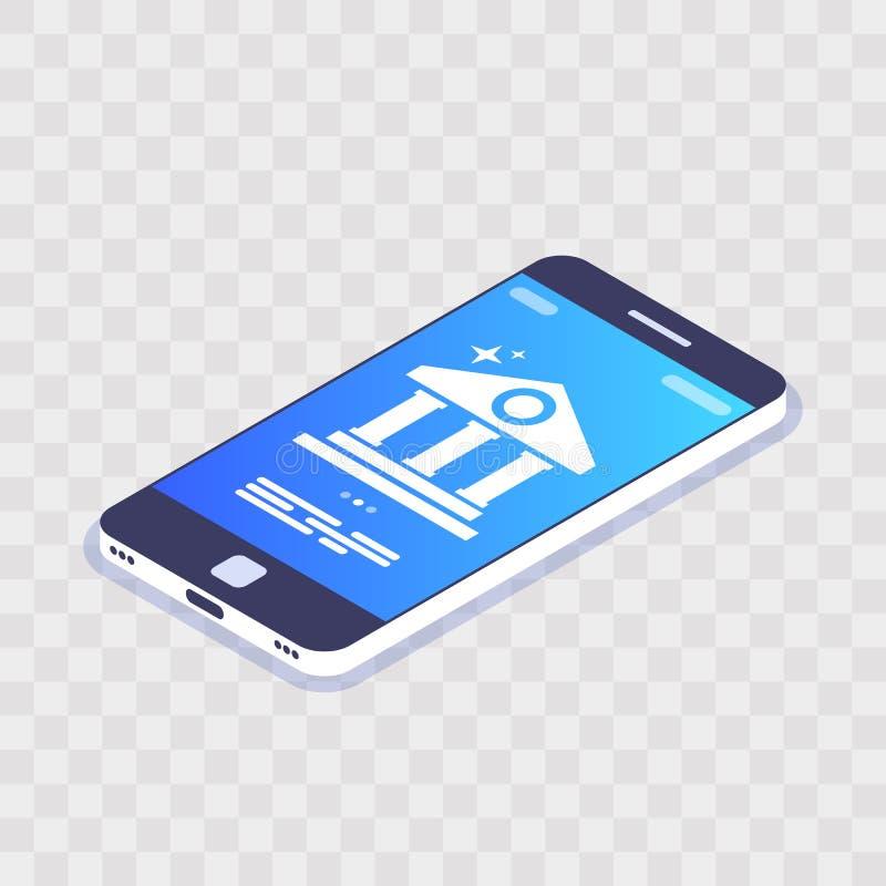 移动银行三维矢量概念 移动设备屏幕上的银行图标 透明背景下的智能手机 财务 皇族释放例证