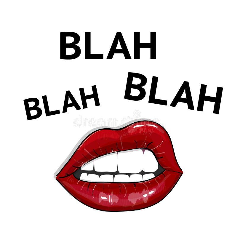Blah blah-bord met sexy rode lippen en citeer tekst Meisjes feministische poster Vrouw Power-illustratie stock illustratie