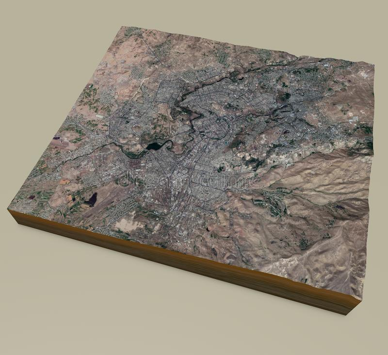 Δορυφορικός χάρτης του Ερεβάν Είναι η πρωτεύουσα και η μεγαλύτερη πόλη της Αρμενίας Χάρτης οδών και κτιρίων του κέντρου της πόλης στοκ φωτογραφίες