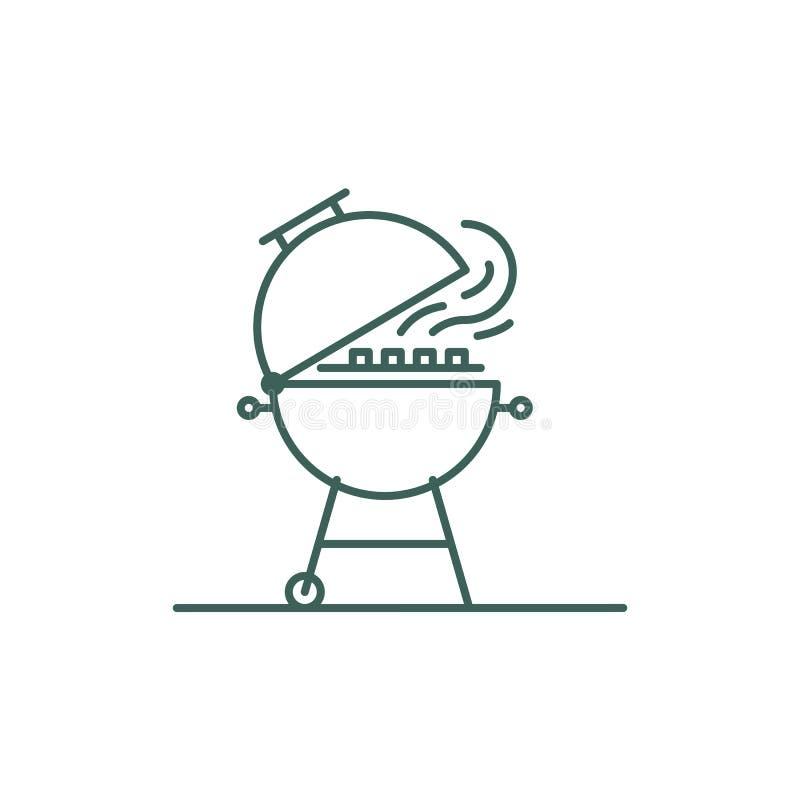 Icona barbecue stile linea Segno - cerniera per cucinare carne o verdure durante un picnic Illustrazione minima per illustrazione di stock
