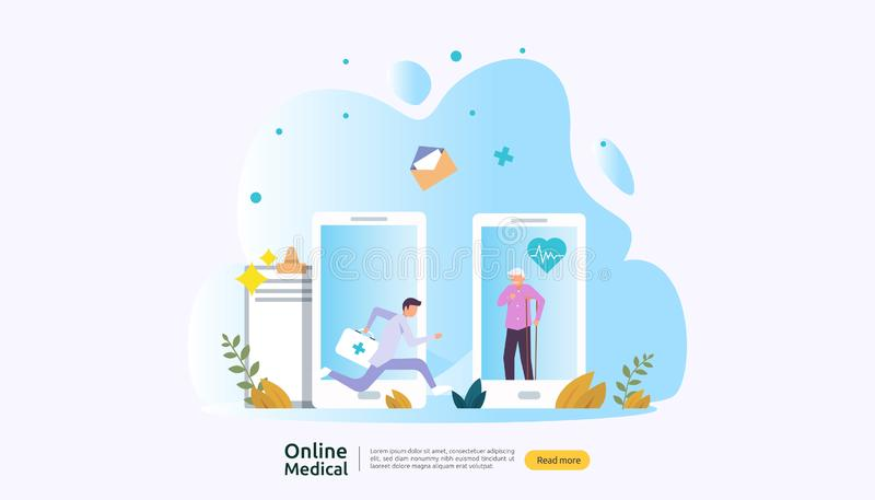 Servicio de asesoramiento médico en línea y atención médica Llamar al concepto de asistencia médica con carácter de persona plant stock de ilustración